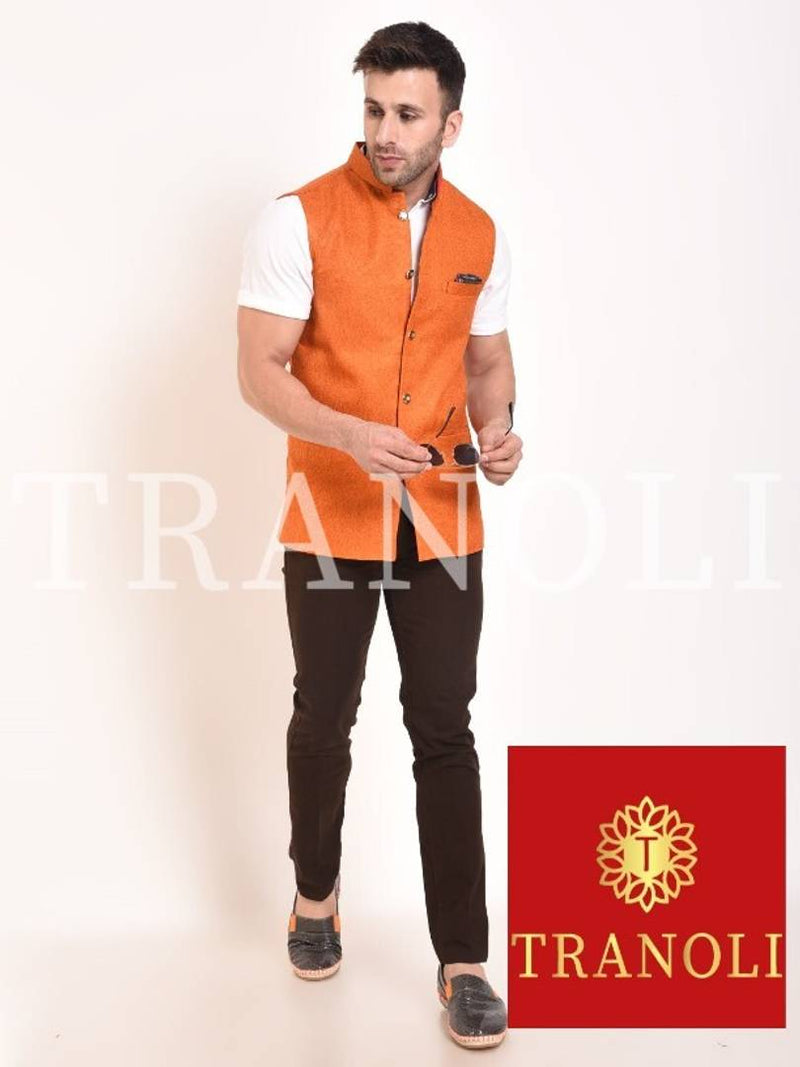 TRANOLI Fashionable Orange Jute Solid Waistcoat For Men