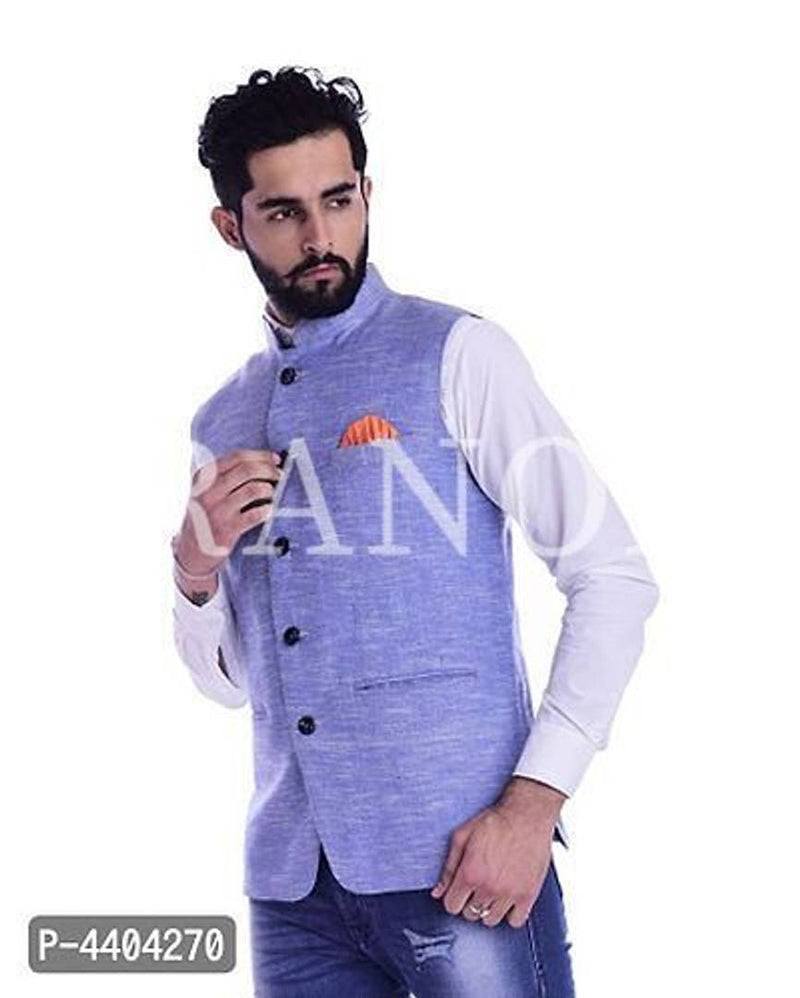 TRANOLI Fashionable Blue Khadi Cotton Solid Waistcoat For Men