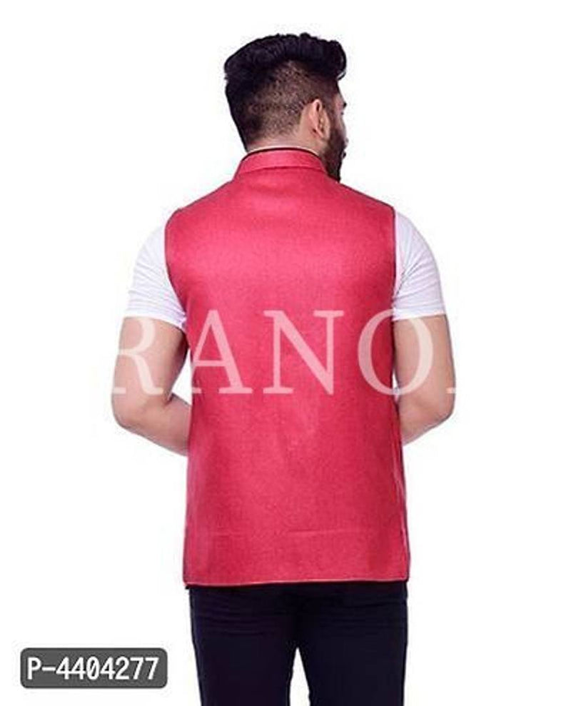 TRANOLI Fashionable Red Jute Solid Waistcoat For Men