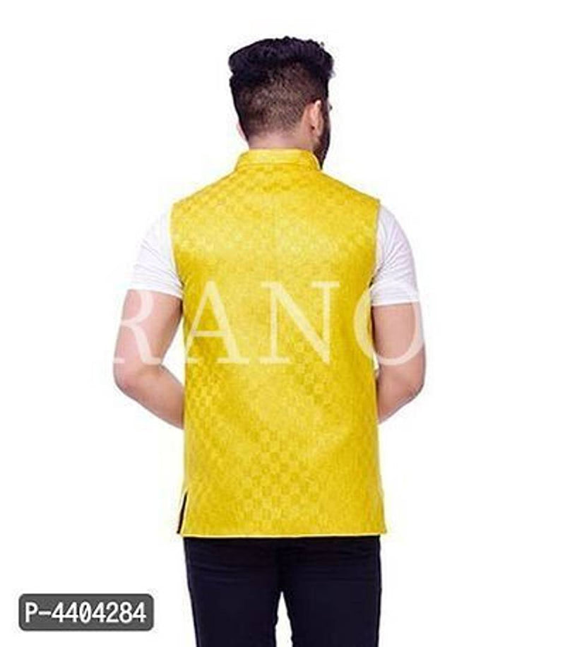 TRANOLI Fashionable Yellow Jute Checked Waistcoat For Men