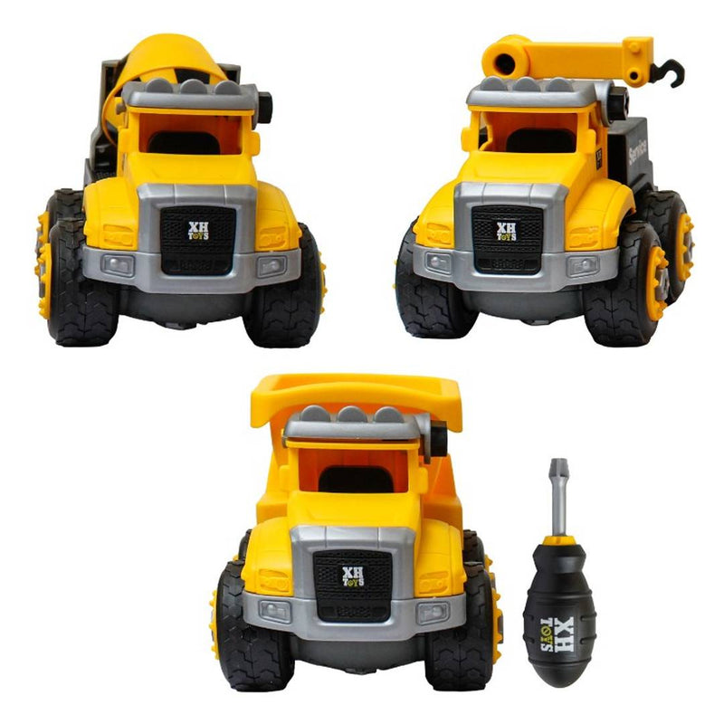 NHR DIY Toy Set of 3 Vehicle Set - Assembly Toy Dumpster, Crane, Mixer Truck Unbreakable Toy Construction Biulding Toy Car DIY Assembly Car with Screwdriver, Toy Car for Kids- Age 3+ Years