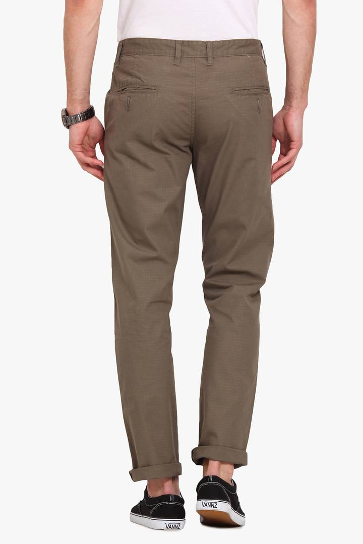 Stylish Cotton Khaki Solid Smart Fit Chinos For Men
