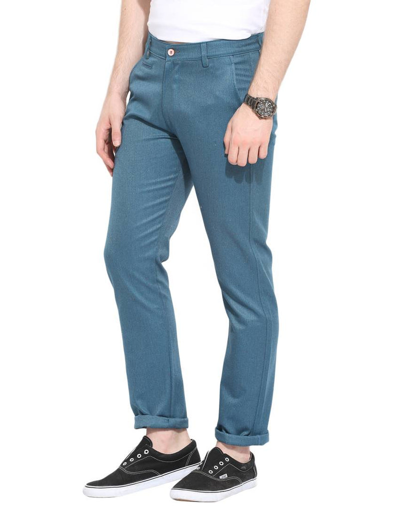 Stylish Cotton Teal Solid Smart Fit Chinos For Men