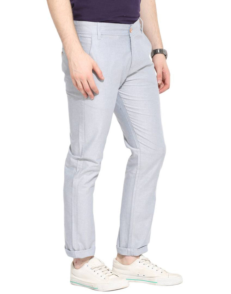 Stylish Cotton Grey Solid Smart Fit Chinos For Men