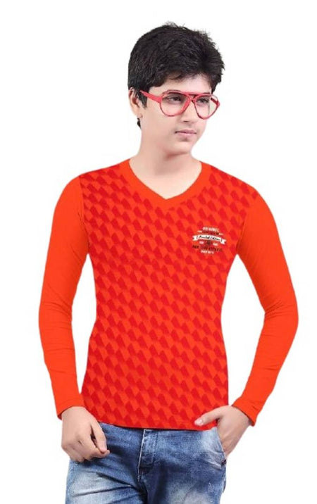Stylish Cotton Red Printed V- Neck Full Sleeves T-shirt For Boys