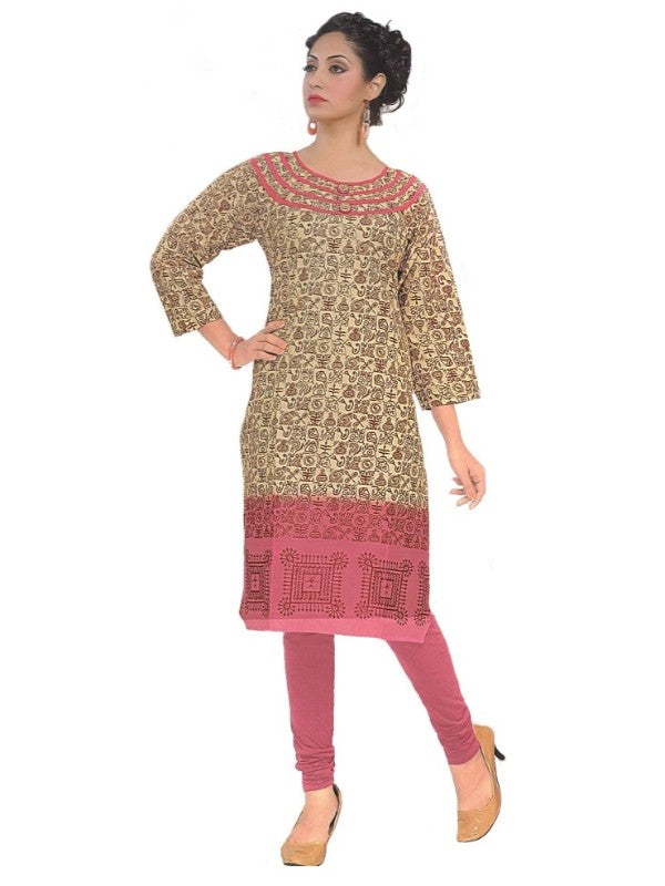 Women's  Printed Cotton Beige and Pink Straight  Kurta