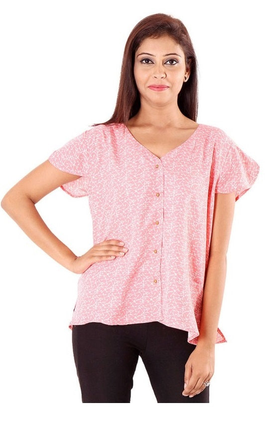 Polyester Printed Pink Top