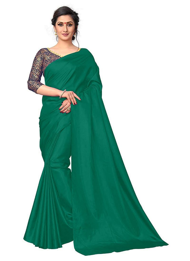 Generic Women's Zoya Silk Saree (Green, 5-6 Mtrs)