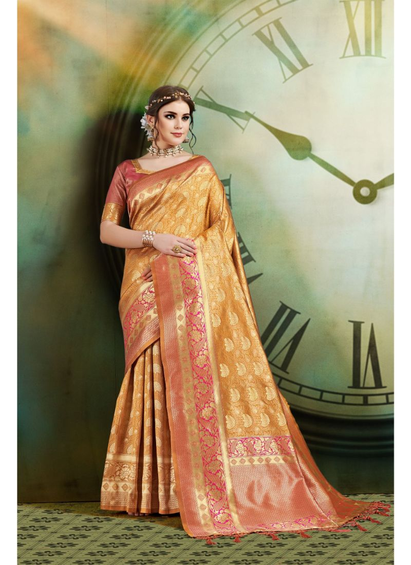 Generic Women's Banarasi Art Silk Saree With Blouse (Mustard, 5-6 Mtrs)