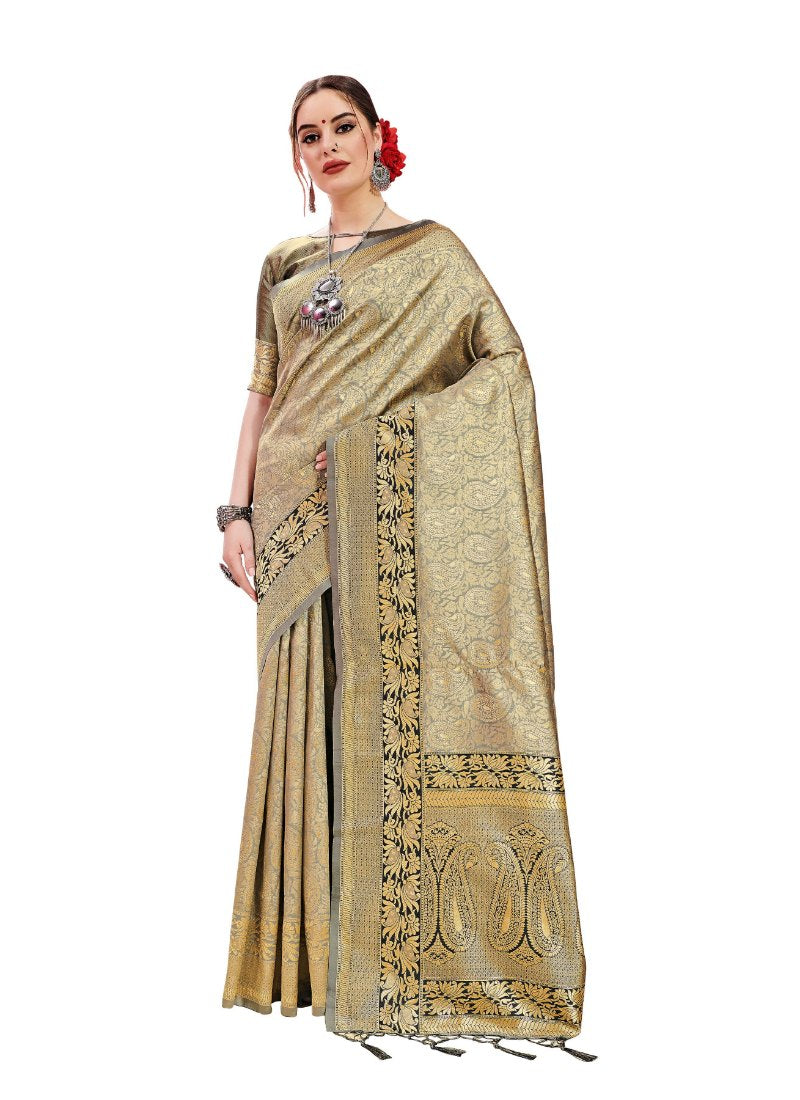 Generic Women's Banarasi Art Silk Saree With Blouse (Silver, 5-6 Mtrs)