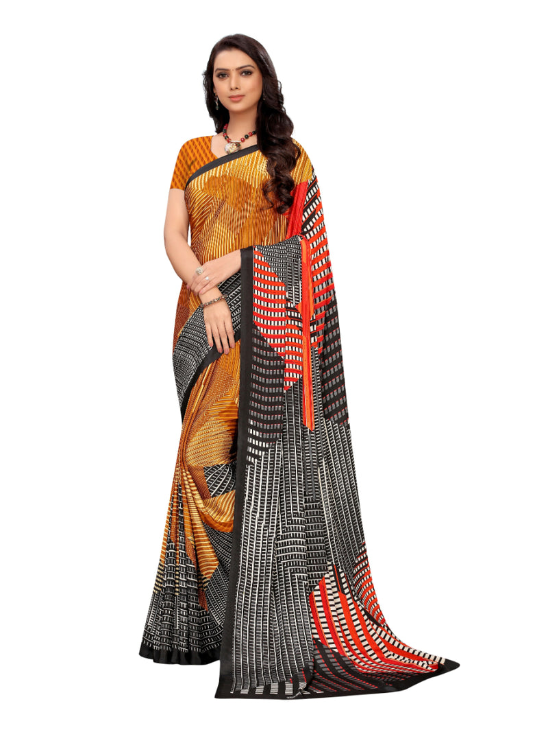Generic Women's Crepe Saree With Blouse (Mustard, 5-6 Mtrs)