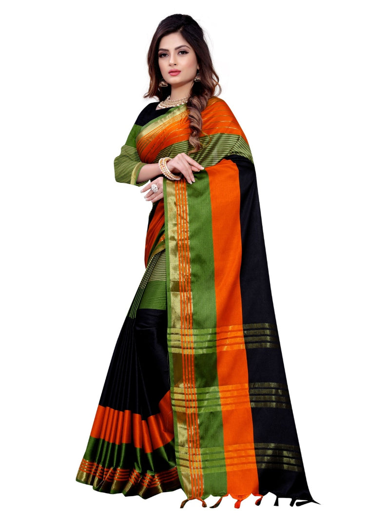 Generic Women's Cotton Silk Saree With Blouse (Multi Color, 5-6 Mtrs)