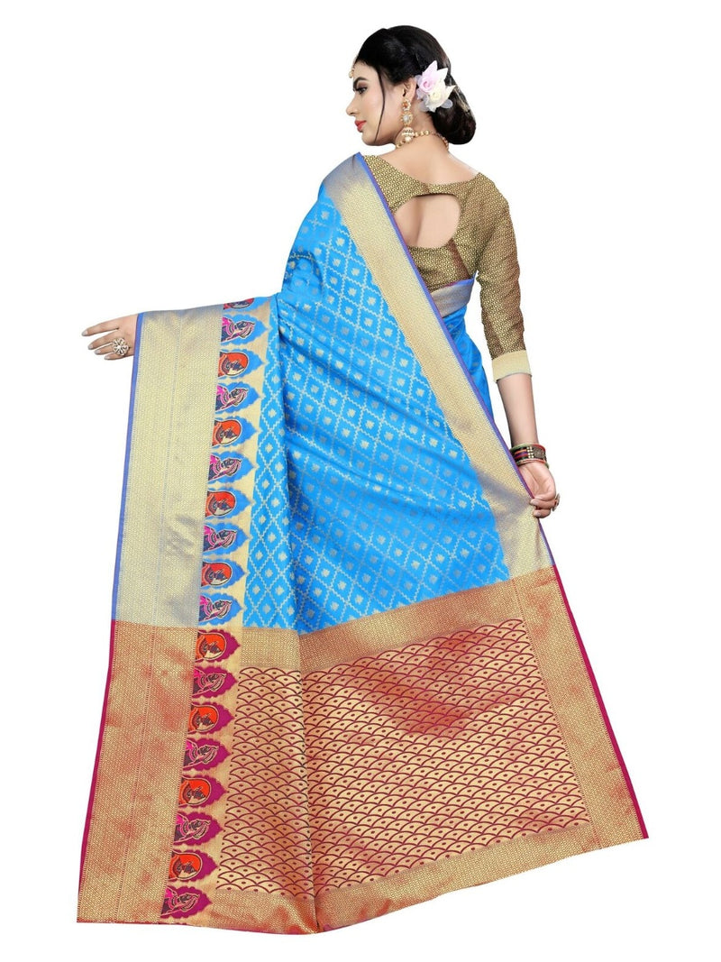 Generic Women's Kanjivaram Silk Saree With Blouse (Ferozi, 5-6 Mtrs)
