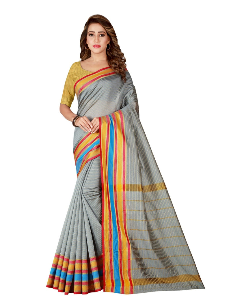 Generic Women's Poly Cotton Saree With Blouse (Grey, 5-6 Mtrs)