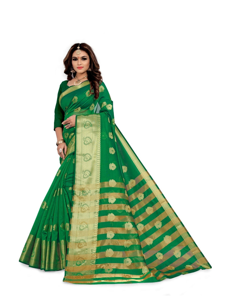 Generic Women's Silk Blend,Jacqaurd Saree With Blouse (Green, 5-6 Mtrs)