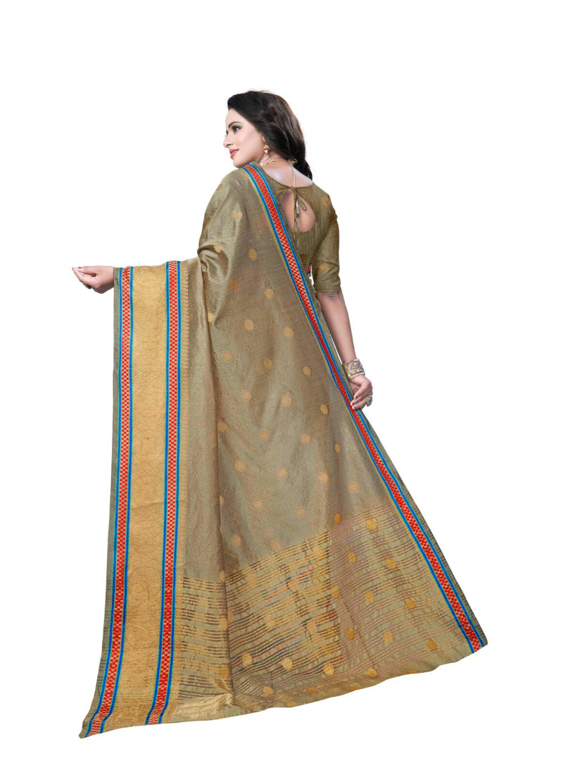 Generic Women's Banarasi silk Saree with Blouse (Beige, 5-6mtr)