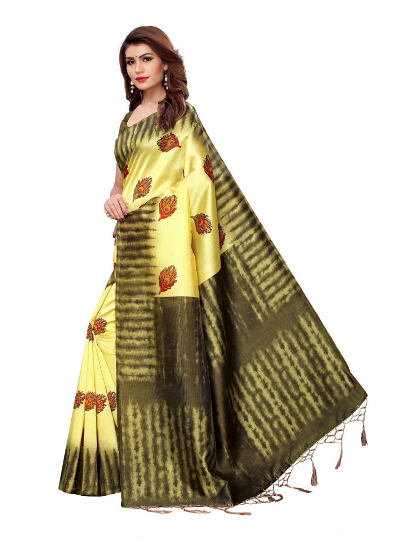 Generic Women's Mysore Art Silk Saree (Lemon, 5-6 Mtrs)