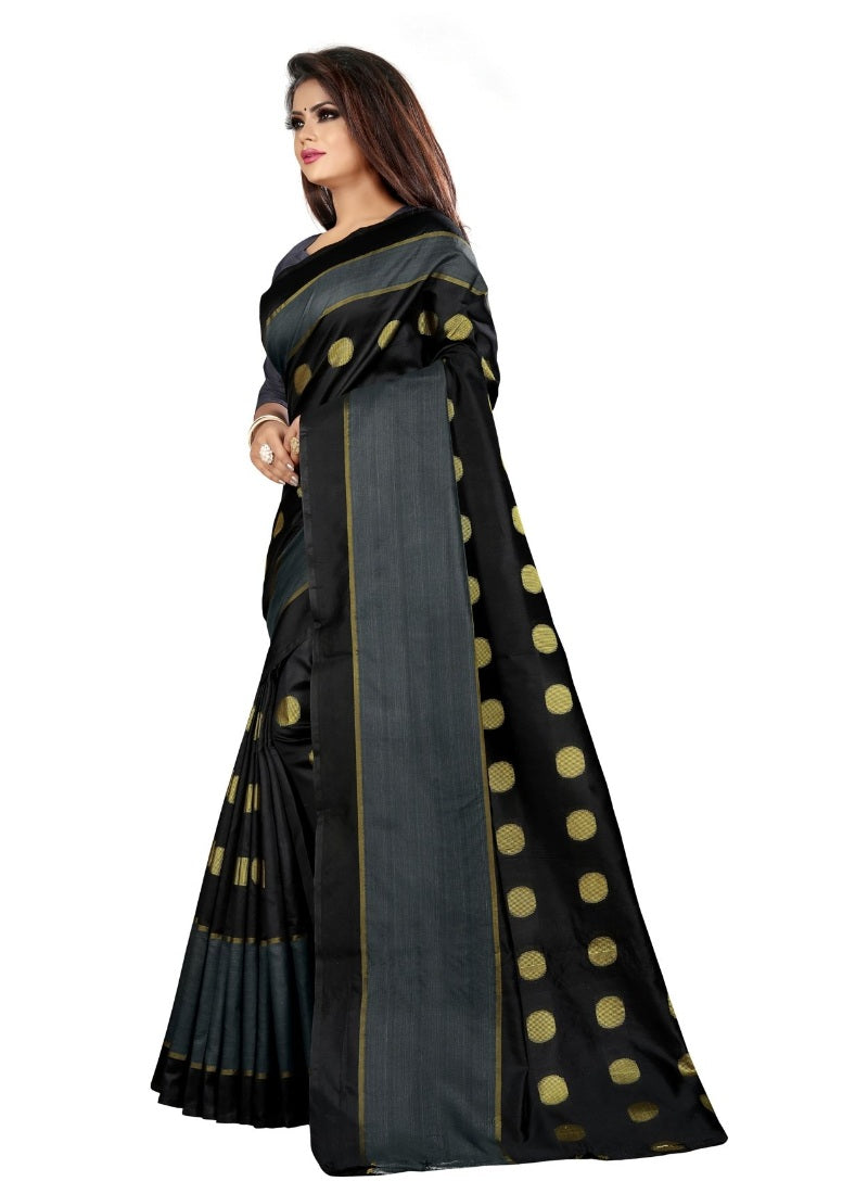 Generic Women's Art Silk Saree with Blouse (Black,5-6 mtrs)