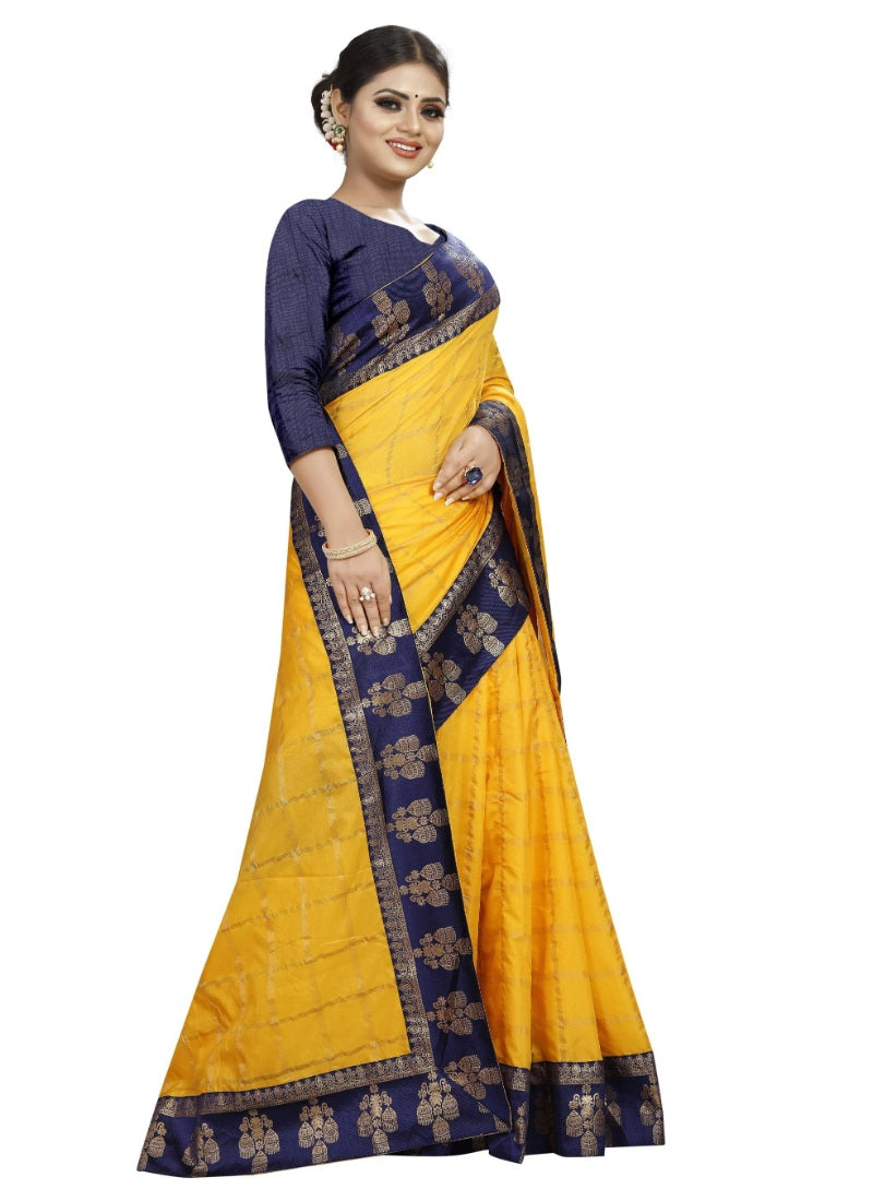 Generic Women's Panetar Silk Saree with Blouse (Yellow,5-6 mtrs)