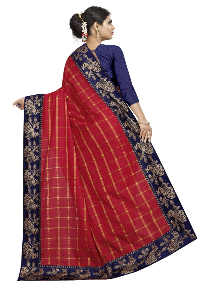 Generic Women's Panetar Silk Saree with Blouse (Red,5-6 mtrs)