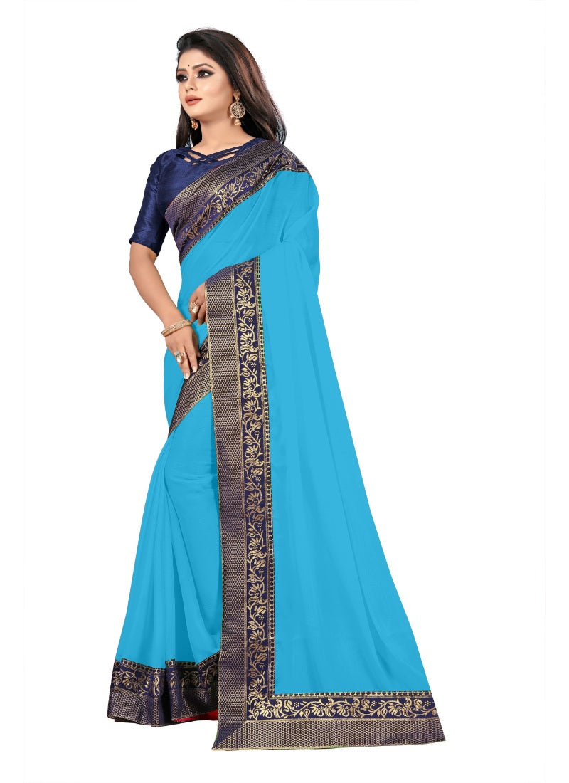 Generic Women's Lace Border Work With Chiffon Saree with Blouse (Sky,5-6 Mtrs)