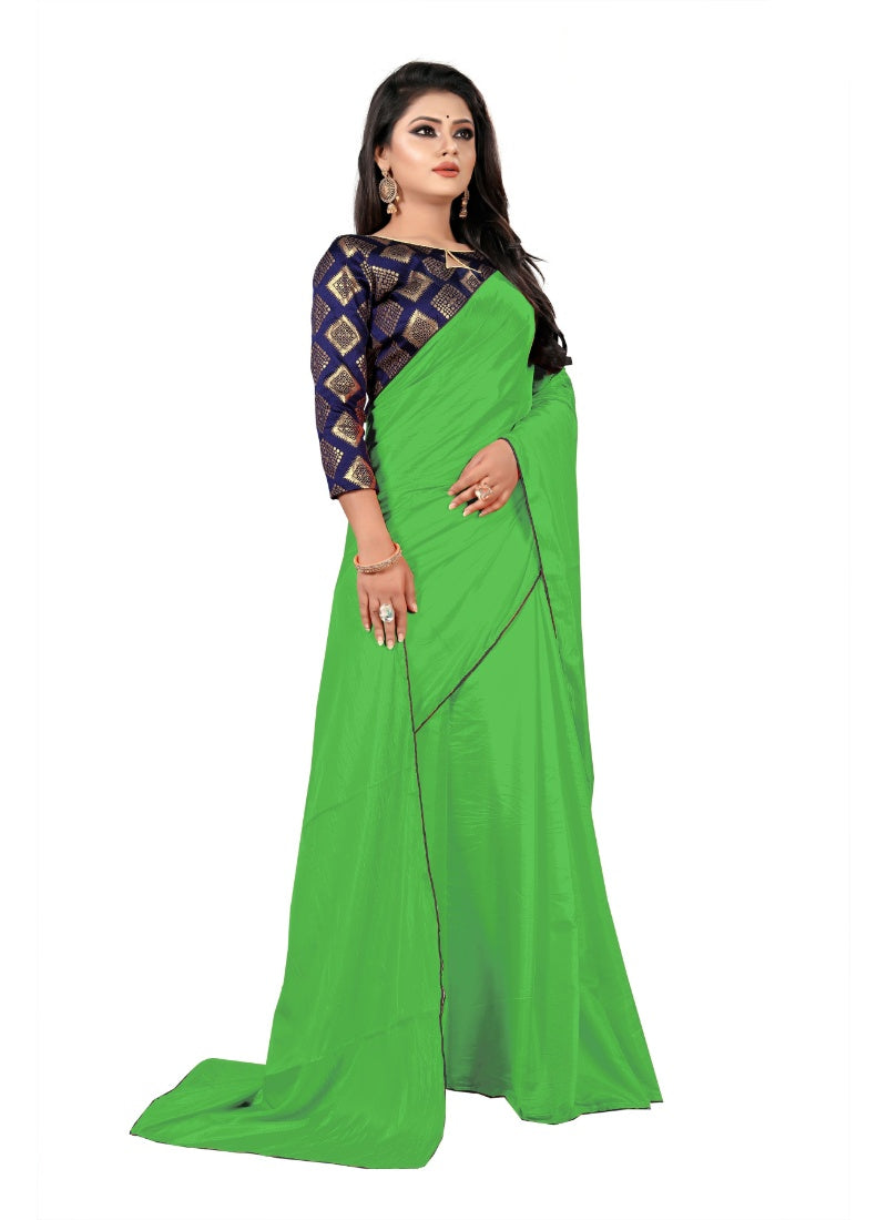 Generic Women's Paper Silk Saree With Jacquard Blouse Piece (Light Green, 5-6mtrs)