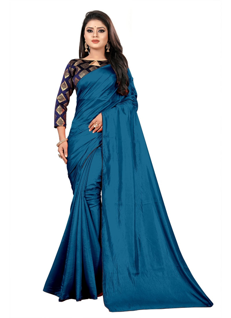 Generic Women's Paper Silk Saree With Jacquard Blouse Piece (Sky, 5-6mtrs)