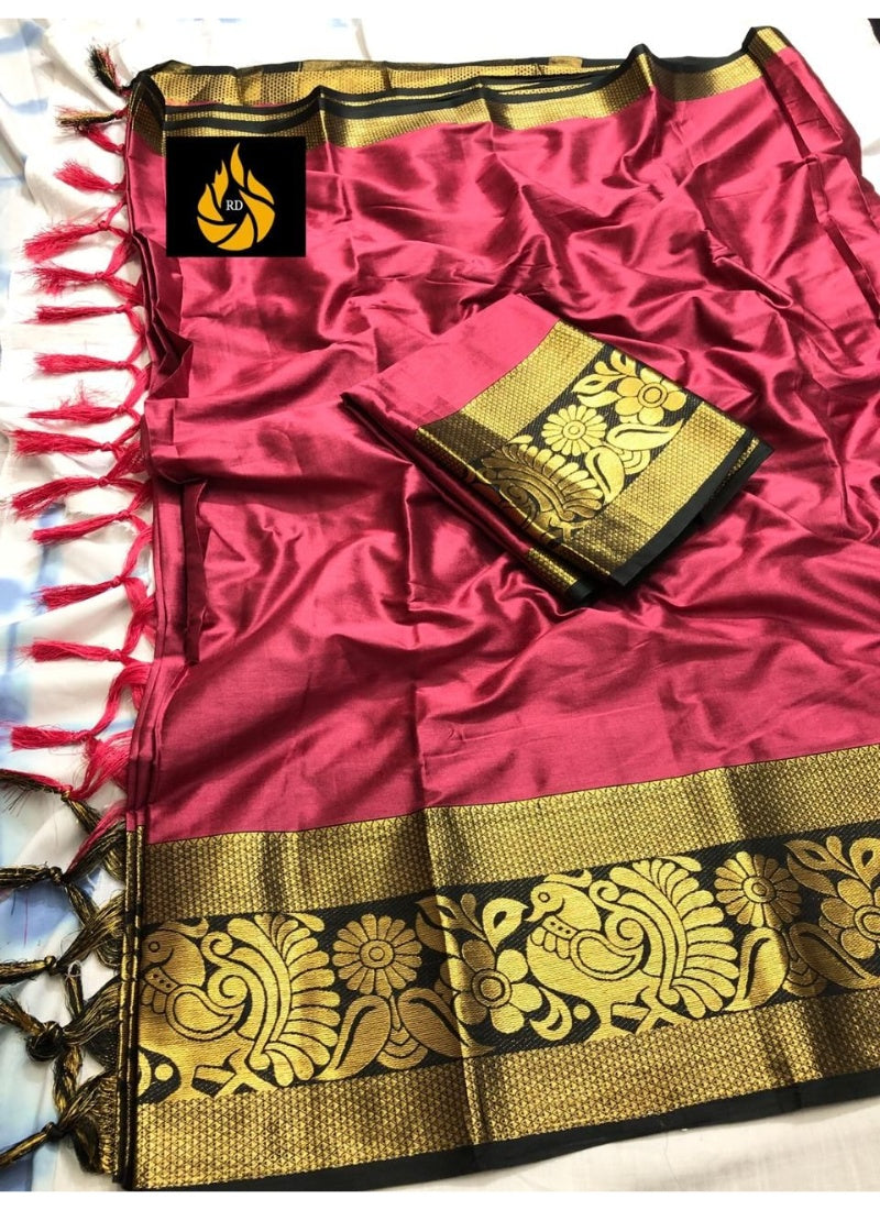 Generic Women's Cotton Silk Saree with Blouse (Gajri Black,5-6 Mtrs)