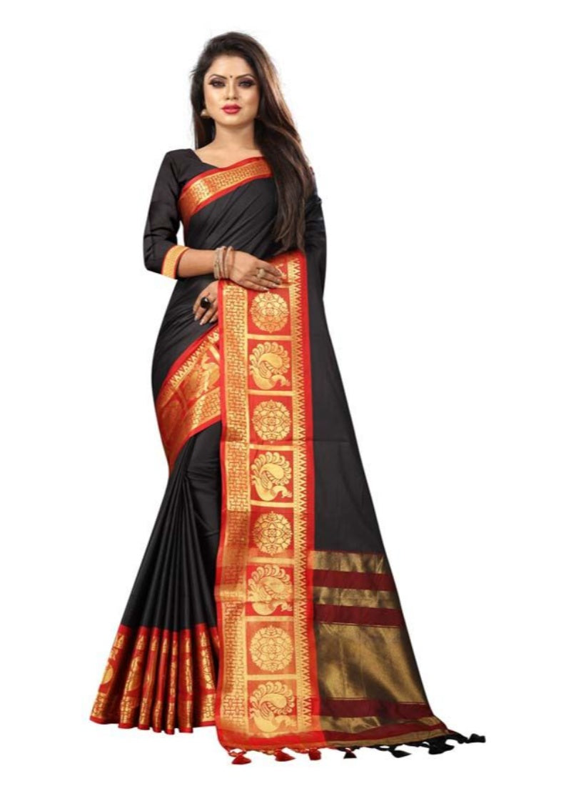 Generic Women's Cotton Silk Saree with Blouse (Black Red,5-6 Mtrs)