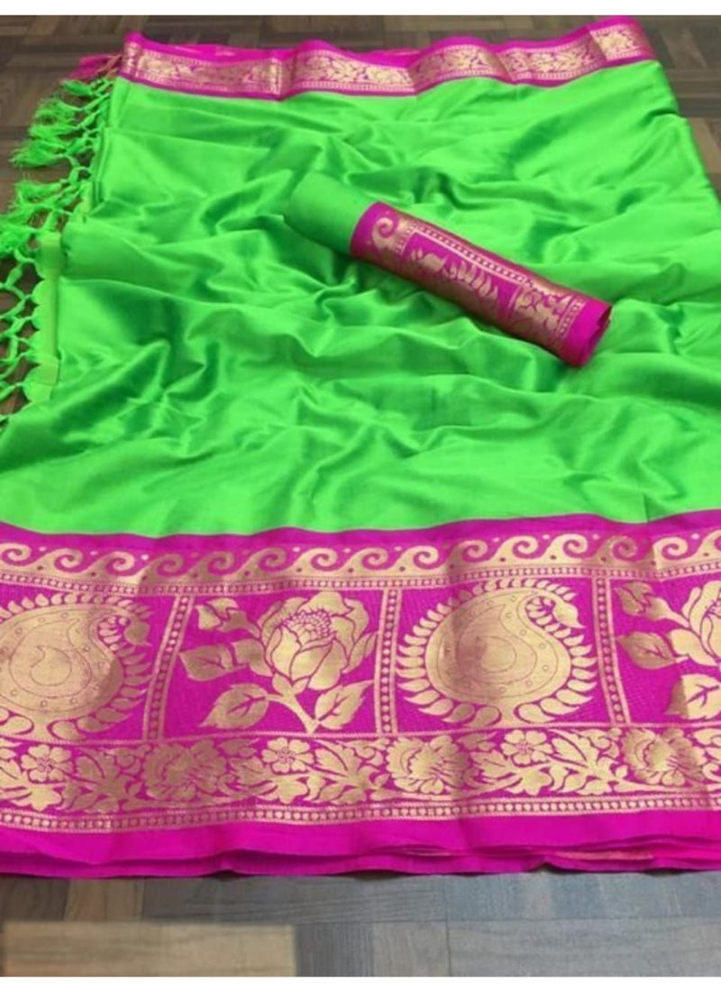 Generic Women's Cotton Silk Saree with Blouse (Parrot Pink,5-6 Mtrs)
