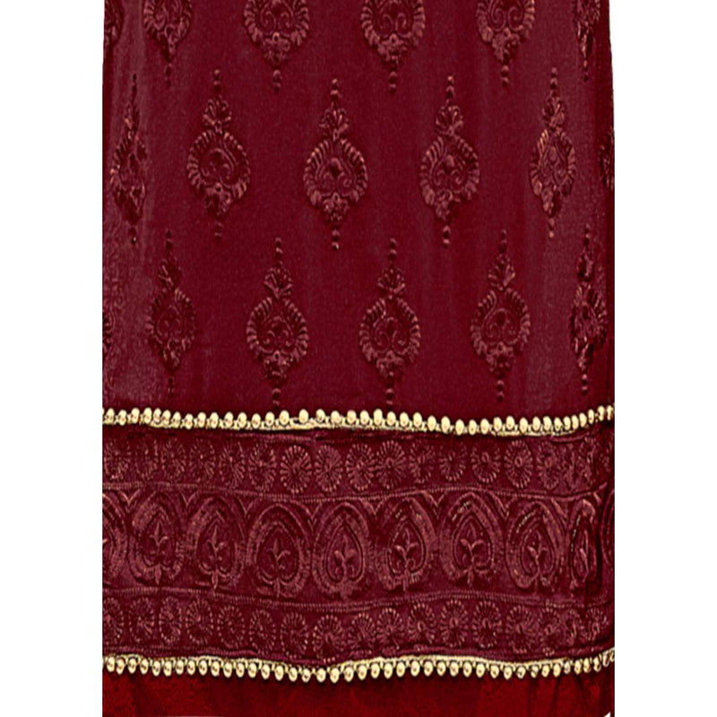 Georgette Fabric Maroon Color Dress Material