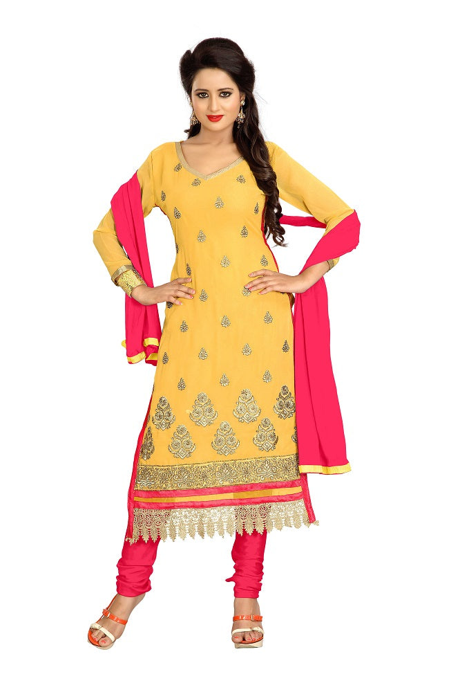 Women's Women's Georgette Embroidered Dress Material (LMAHK04 Yellow)