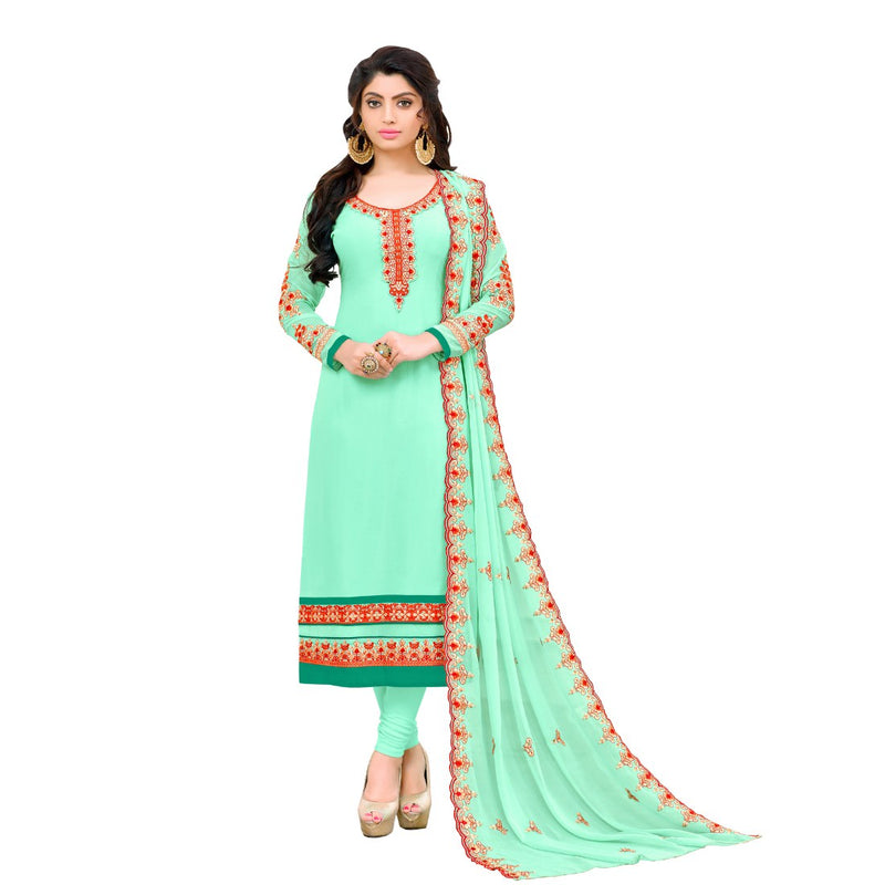 Georgette Fabric Pista Green Color Dress Material
