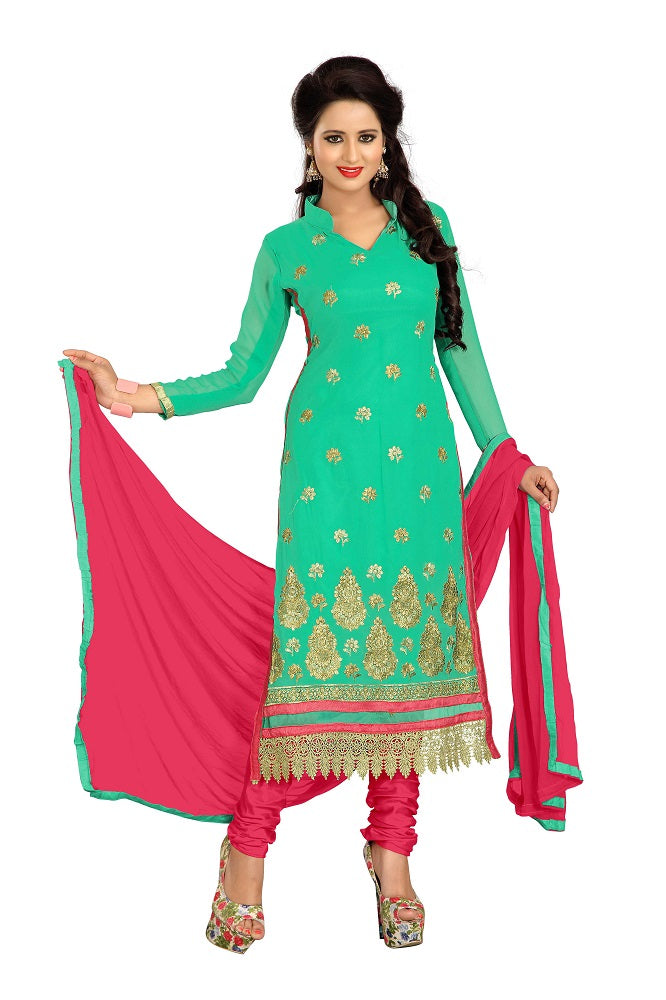 Green Georgette Embroidered straight Dress material
