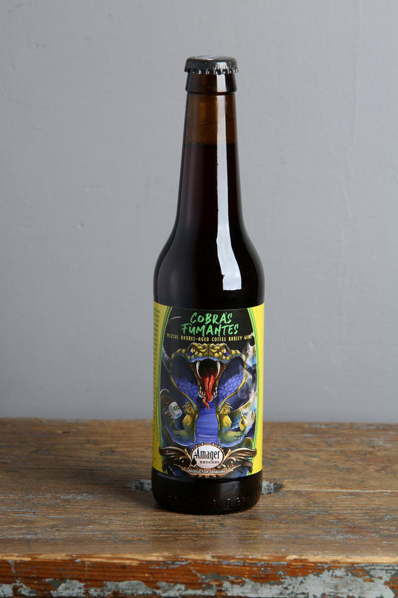 A 330ml bottle of barley wine beer from Amager, aged in barrels with coffee added.