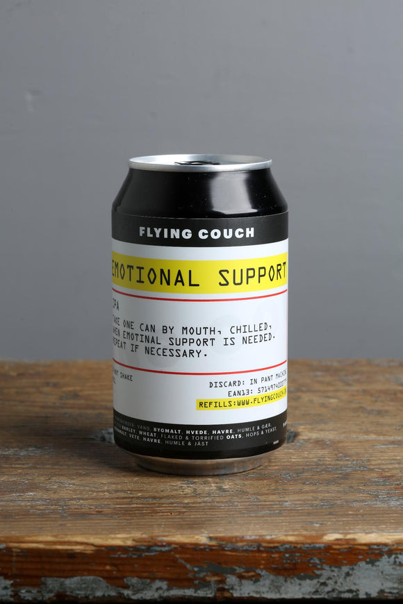 330 ml can of Emotional Support craft IPA from Denmark.