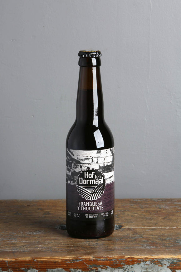 Raspberry and Chocolate sour Belgian beer. 330ml bottle
