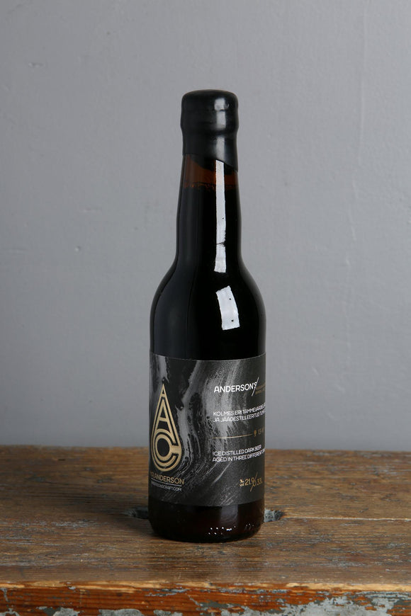 Freeze-distilled beer. Super strong and dark ale from Anderson's, Estonia