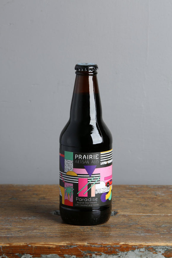Coconut and vanilla infused Imperial stout from Prairie artisan ale, USA.