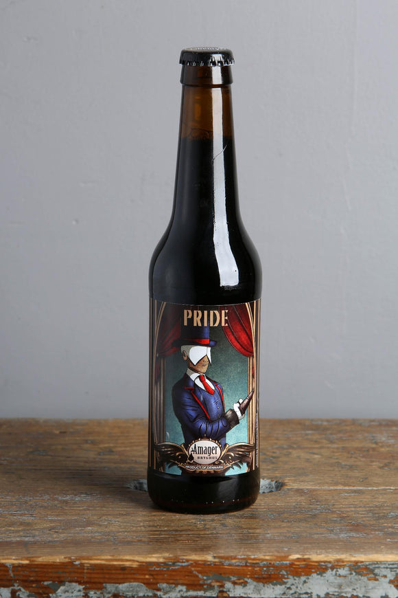 Pride Imperial Stout from Danish craft brewery Amager. 33ml bottle. Available at Beerfox, Riga.