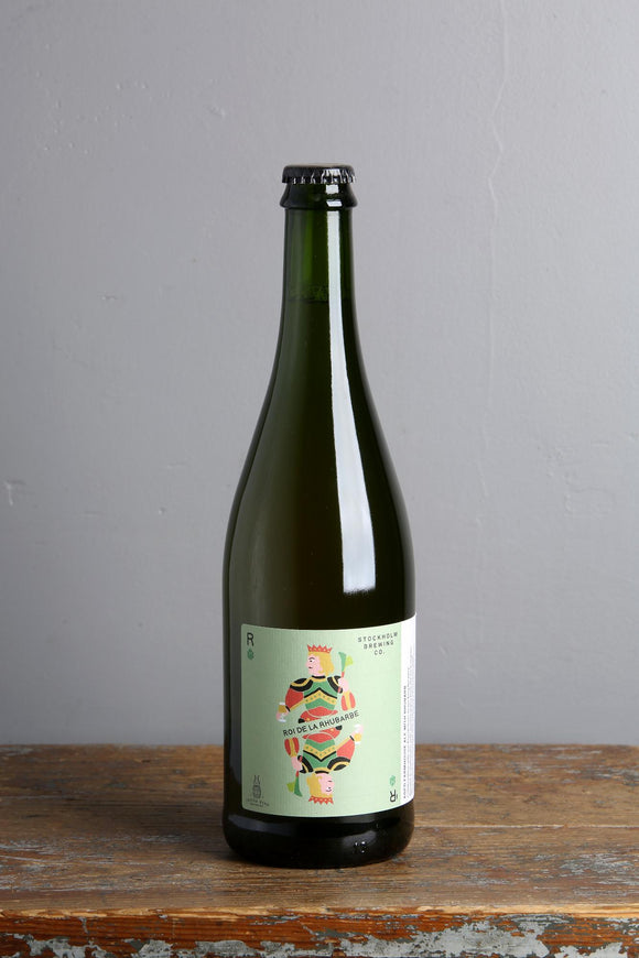 750 ml bottle of Belgian style saison with rhubarb from Stockholm brewing.