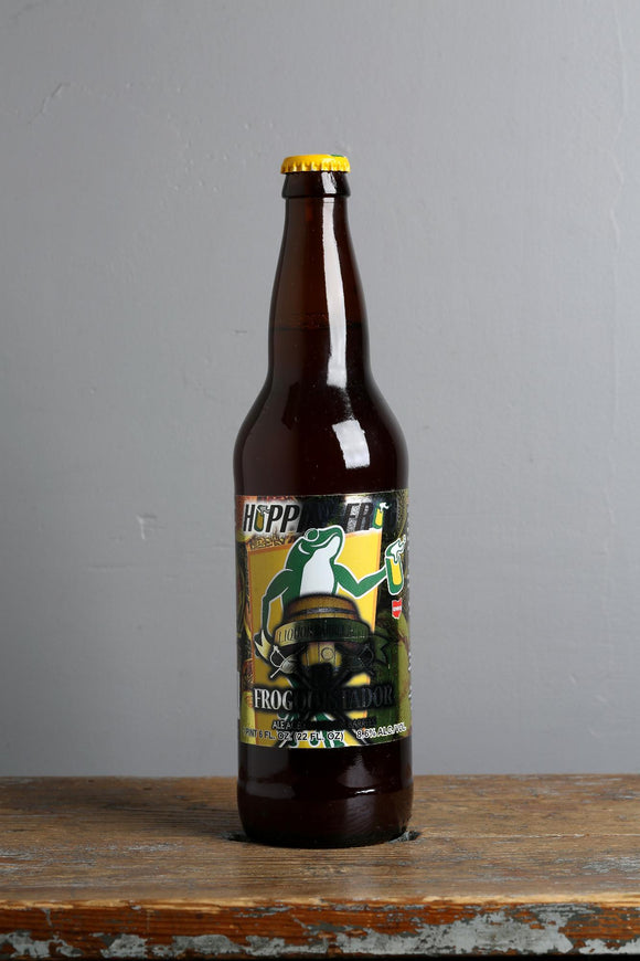 A Belgian style Blond ale beer aged in brandy barrels from Hoppin' Frog, brewery, USA