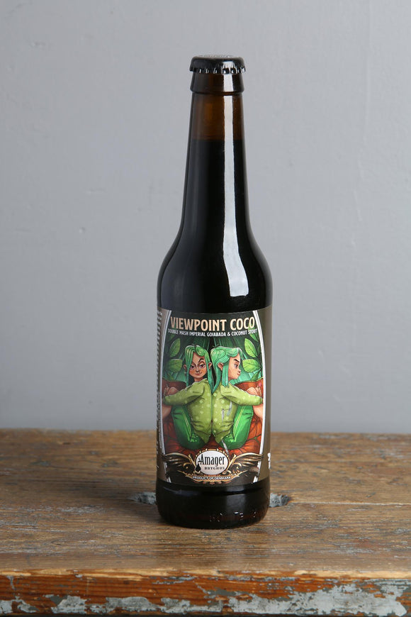 Coconut and guava paste in an Imperial Stout. Strong dark beer from Denmark. 330ml bottle