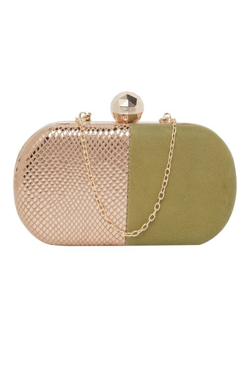 Pure Leather Clutch (Green & Gold)