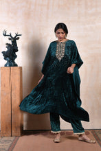 Load image into Gallery viewer, long-cape-style-sequinned-kurta-in-emerald-velvet-with-matching-drawstring-pants