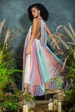 Load image into Gallery viewer, Multi-coloured ruched  backless gown with embellished neckline and fringing at the back