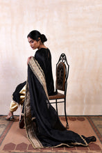 Load image into Gallery viewer, A Line Black Short Shaneel Kurta and Dupatta. Offset by a Pair of Gold Tulip Pants Complimenting the Gold Zari Work.