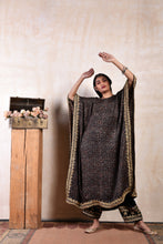 Load image into Gallery viewer, Comfort and style in an ajrakh kaftan with a chotti mori shaneel salwar. true Luxury.