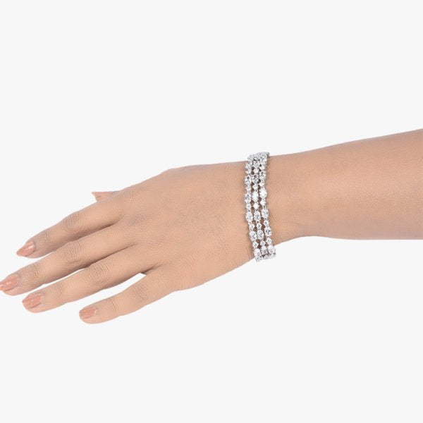 3 ROW OVAL AND ROUND SOLITAIRE TENNIS BRACELET