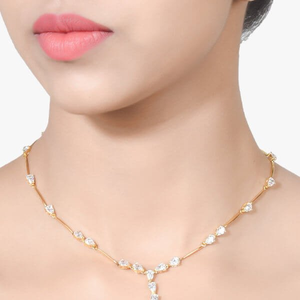 PEAR SOLITAIRE NECKLACE - APART - WITH EARRINGS - 18K GOLD POLISH